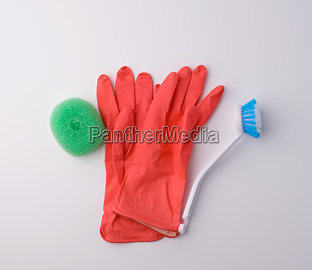 items for home cleaning red rubber