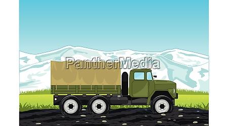 cargo car ural on background of