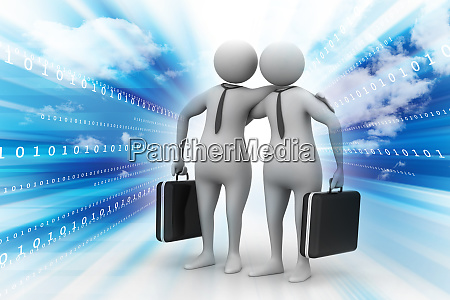 business partners with business bag