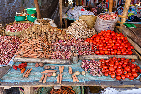 fresh vegetables at the marketplace madagascar