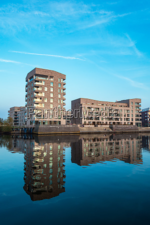 modern buildings in the city rostock