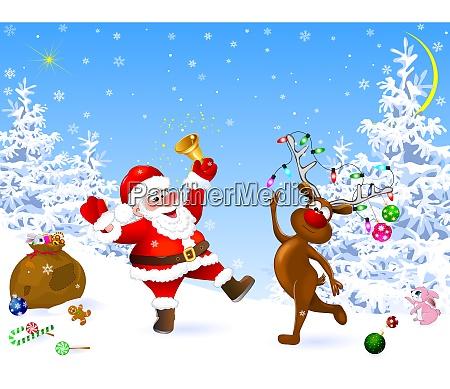 santa and deer celebrate christmas
