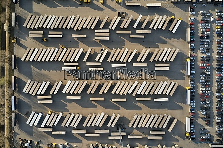 line of trucks and trailers from