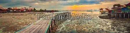 sunrise at penang yeoh jetty on