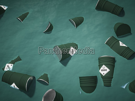 containers full of toxic waste float