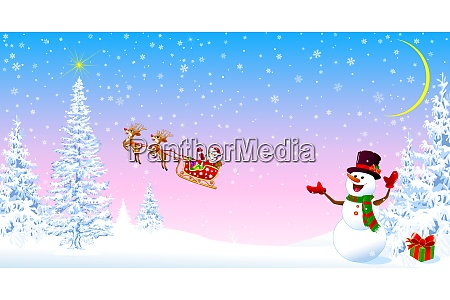 santa claus and snowman welcomes christmas