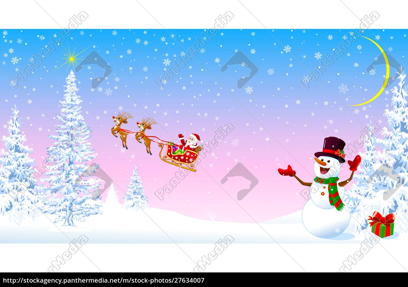 santa, claus, and, snowman, welcomes, christmas - 27634007