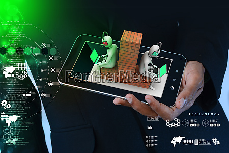 man showing 3d people working in