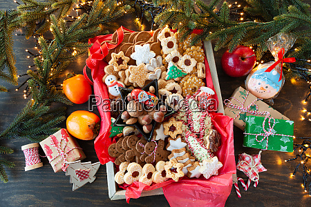 selection of colorful christmas cookies