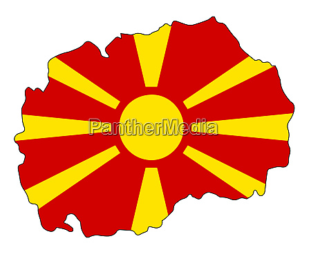 macedonia republic map on flag