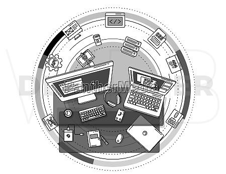 promo poster illustrating the web development