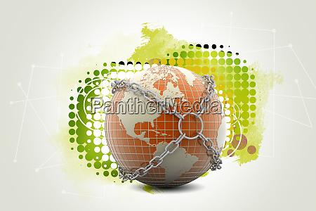 earth globe close in chain
