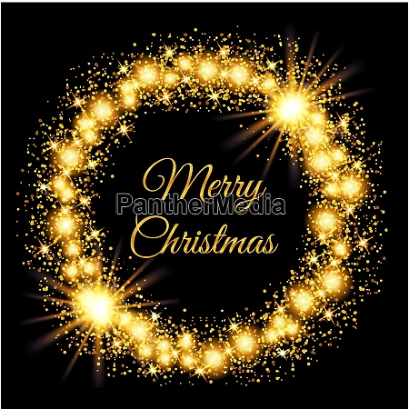 merry christmas glowing gold background vector