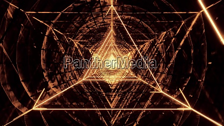 abstract glowig wireframe triangle design with