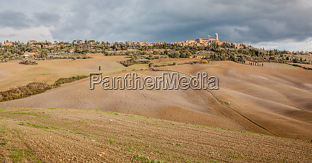 pienza cityscape and farming countryside panoramic