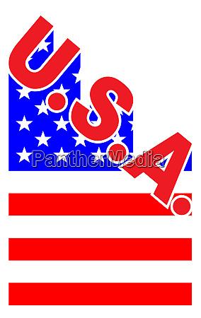 usa angled flag shadow text