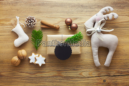 christmas themed flat lay