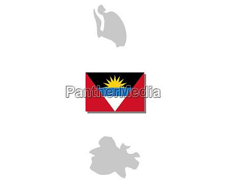 fahne und landkarte von antigua und