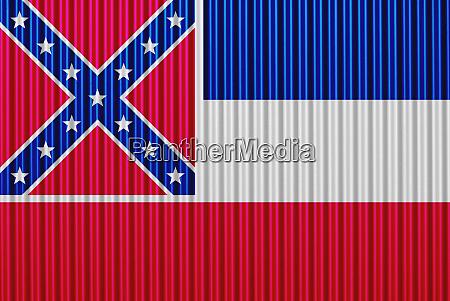 flag of mississippi on corrugated iron