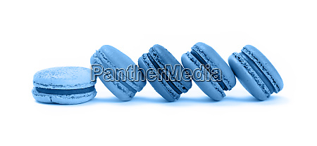 french sweet blue macaron cookies isolated