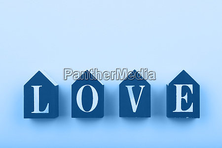 wooden cubes with love word over