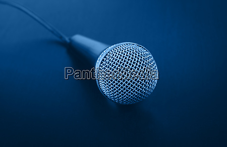 close up classic microphone with cable