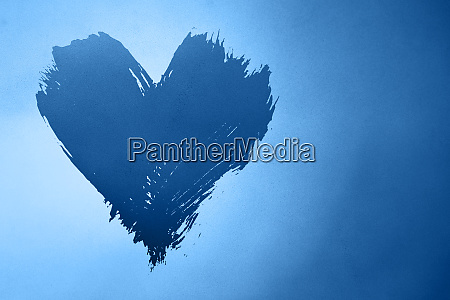 abstract blue background with painted heart