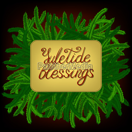lettering yuletide blessings decorated with green