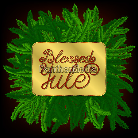 lettering blessed yule decorated with green