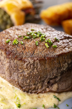 closeup of a steak on a