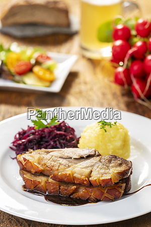 bavarian roasted pork with dumplings and
