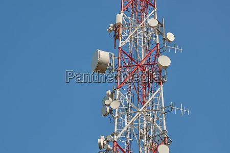 transmitter towers blue sky