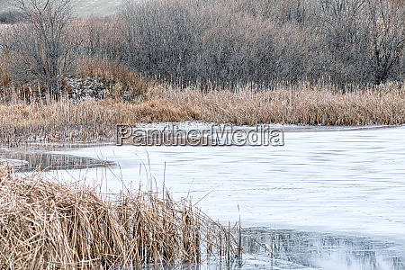 beautiful winter rural landscape with pond