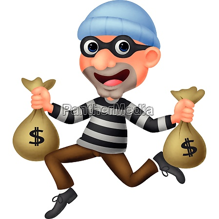 thief carrying bag of money with