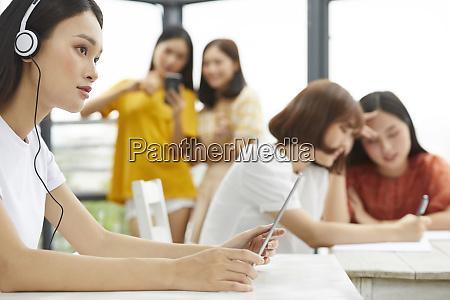 female college student study