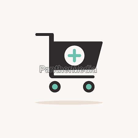 shopping pharmacy cart icon with shadow