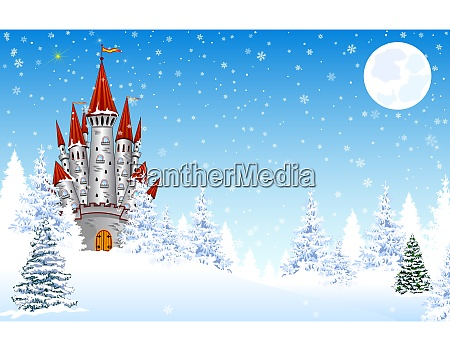 castle in the snow night forest