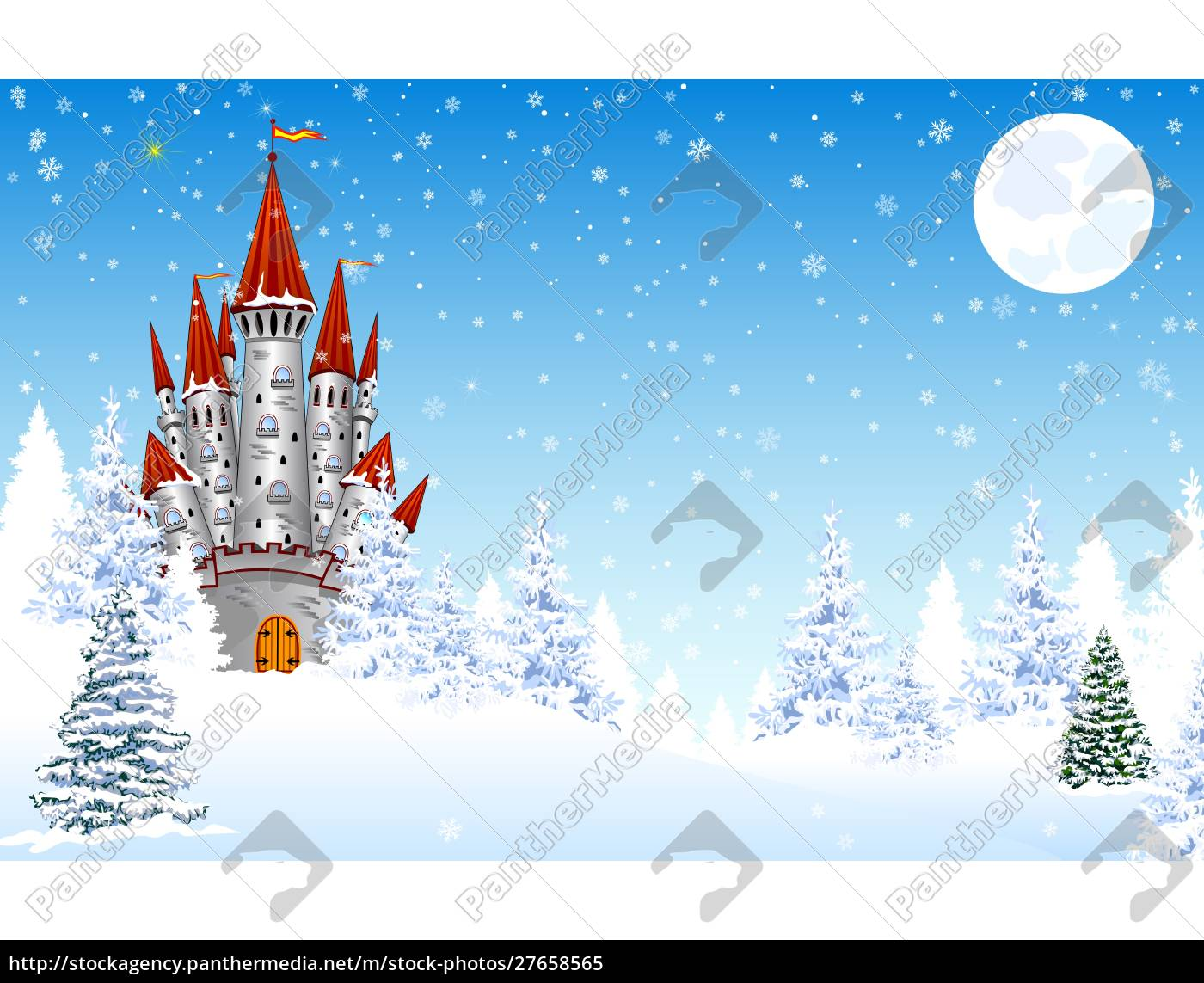castle, in, the, snow, night, forest - 27658565