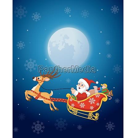 cartoon funny santa in his christmas
