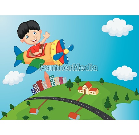 cartoon boy riding airplane