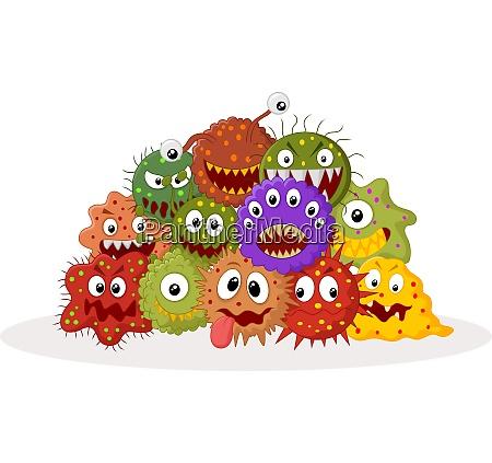 cartoon bacteria colony