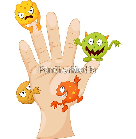 dirty palm with cartoon germs