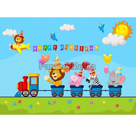 birthday background with happy animal on