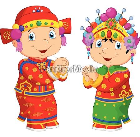 cartoon chinese kid wearing traditional costume
