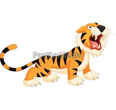 cute cartoon tiger roaring