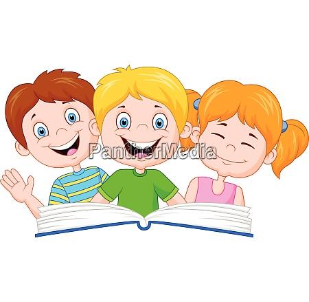 cartoon happy kids reading a book