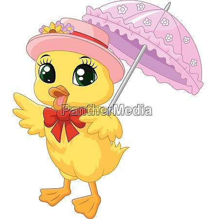 cute cartoon duck with pink umbrella