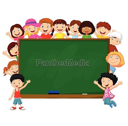 crowd children with chalkboard