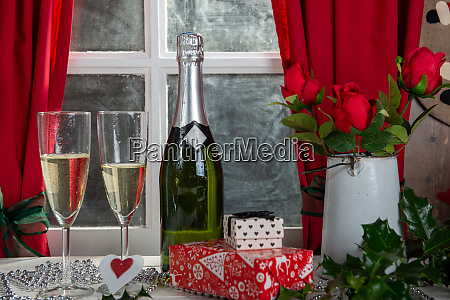 christmas decoration with two glasses of