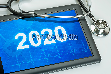 tablet with the number 2020 on